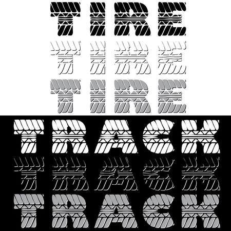 tire imprint: Set of different black and white text with tire tracks