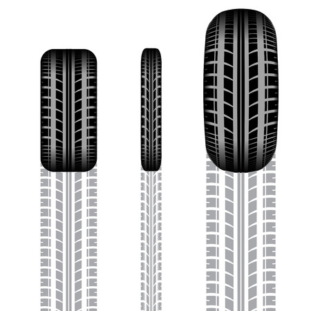 tire imprint: Set of different tire tracks with shadow isolated on white background Illustration