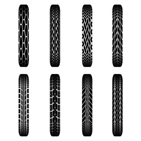 tire imprint: Set of eight black bike tire tracks with shadows Illustration