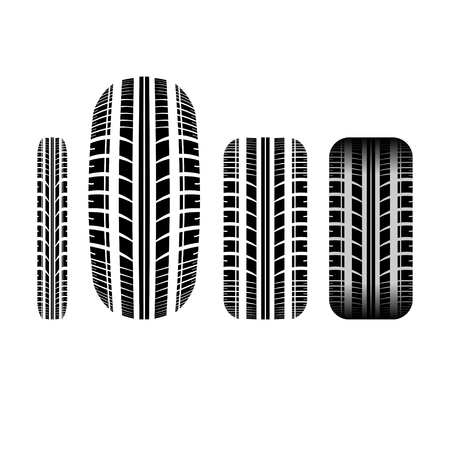 tire imprint: Set of four tire track silhouettes isolated on white background
