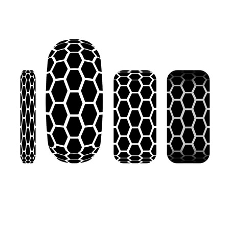 tire track: Set of four tire track silhouettes isolated on white background