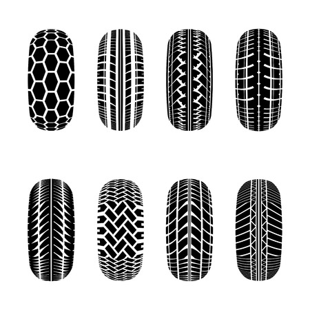 truck tire: Set os truck tire tracks isolated on white background