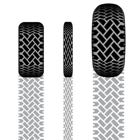tire imprint: Set of tire tracks different forms with shadows
