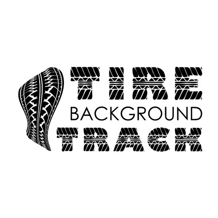 tire track: Tire track logo with text isolated on white background