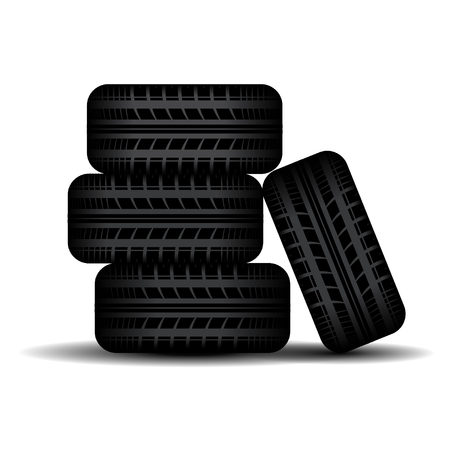 tire imprint: Four black tire tracks isolated on white background