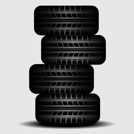 tire imprint: Four tire tracks with shadow isolated on rgay background Illustration