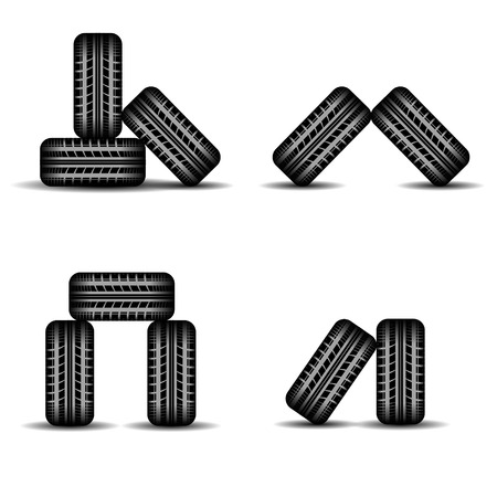 tire imprint: Set of four different tire tracks heaps with shadows isolated on white background Illustration