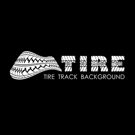 tire imprint: Black tire track background with white silhouette and text