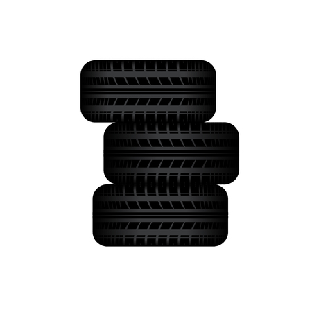 tire imprint: Three tire tracks in stock islated on white background
