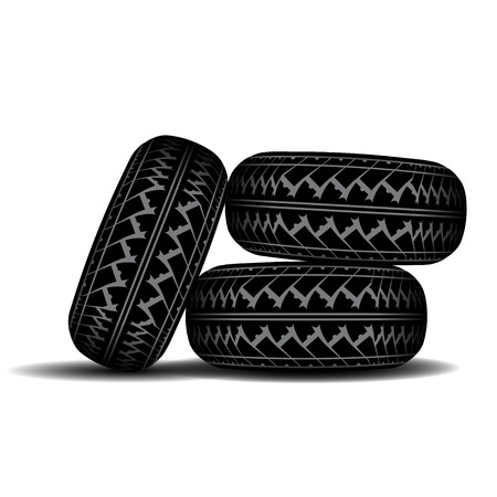 tire imprint: Three truck tire tracks isolated on white background with shadow