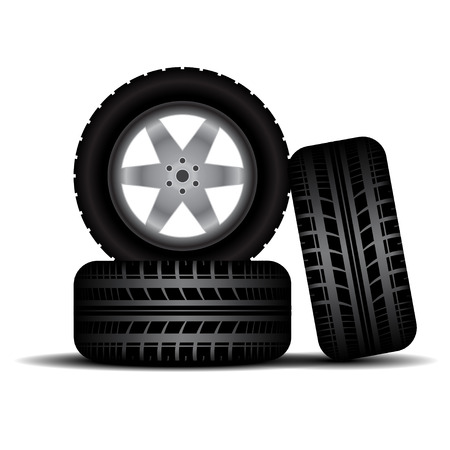 car tire: Three car wheels with tire tracks isolated on white background