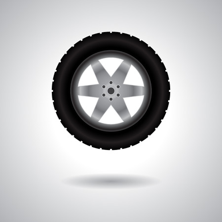 tire track: Big truck wheel with tire track isolated on gray background with shadow Illustration