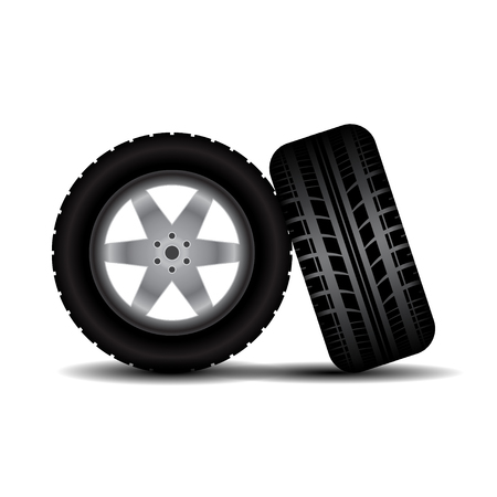car wheels: Two car wheels isolated on white background with shadows