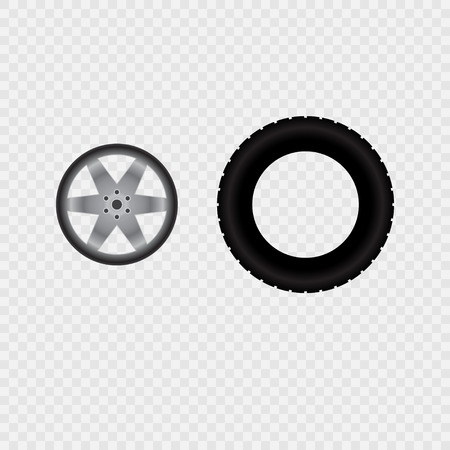tire track: Car wheel and tire track isolated on transparent background