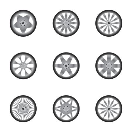 car wheels: Set of nine car wheels silhouettes isolated on white background