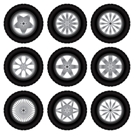 flat tyre: Set of nine wheels with tire tracks silhouettes