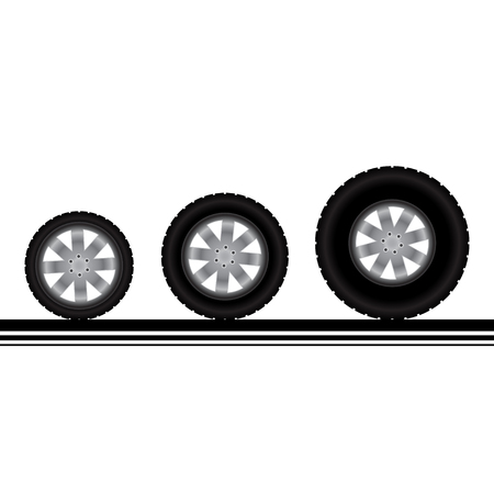 flat tyre: Set of three different car or truck wheels with tire tracks Illustration