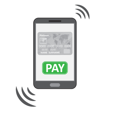 phone button: Mobile phone silhouette with credit card PAY button Illustration
