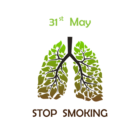 bronchial: Human lungs with green and brown leaves with STOP SMOKING text and date