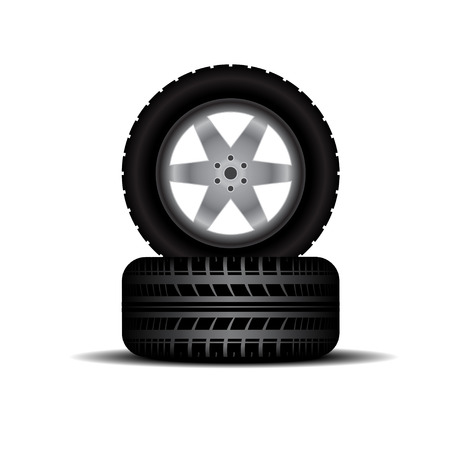 tire imprint: Two tire tracks with shadow isolated on white background Illustration