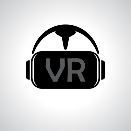 headset: Black virtual reality spectacles isolated on gray background