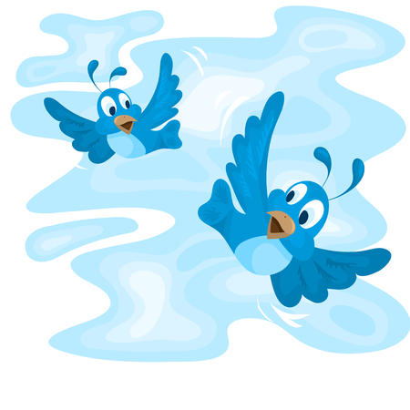 Two birds flying in the blue sky Illustration
