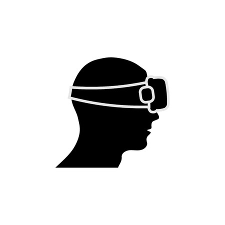 handsfree: Black silhouette of man head with some gears Illustration