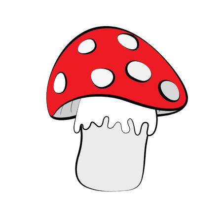 cartoon autumn: Red mushroom isolated on white background cartoon