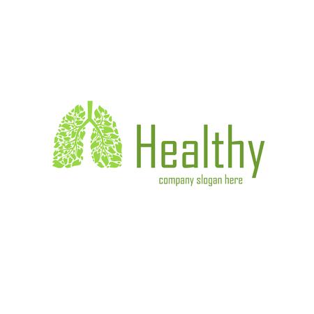 Verde polmoni silhouette con slogan aziendale campione