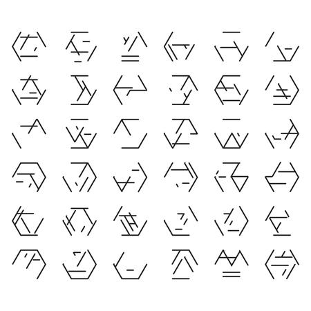 Futuristic alien black font isolated on white