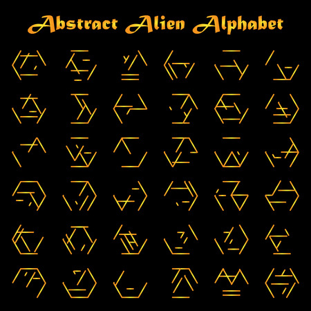 unreadable: Abstract futuristic alien type in golden colors on black background
