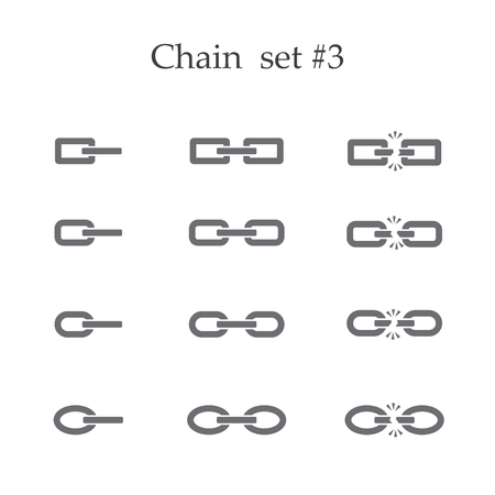 broken link: Set of chain links isolated on white background