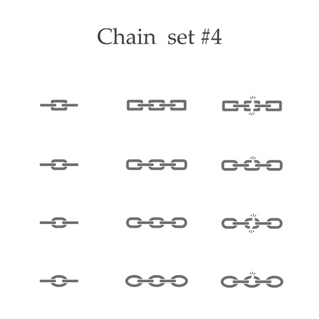 metal parts: Set of different black chain isolated on white background
