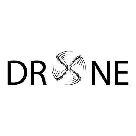 propellers: Black text drone with propellers in letter O