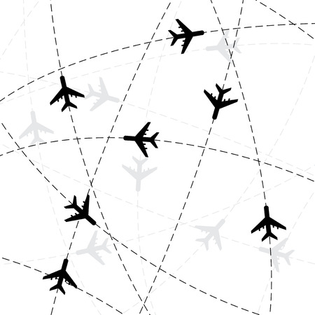 thoroughfare: Black airplane silhouettes with some dashed strokes