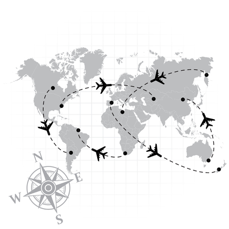 south america: Gray silhouette of world map with some airplanes