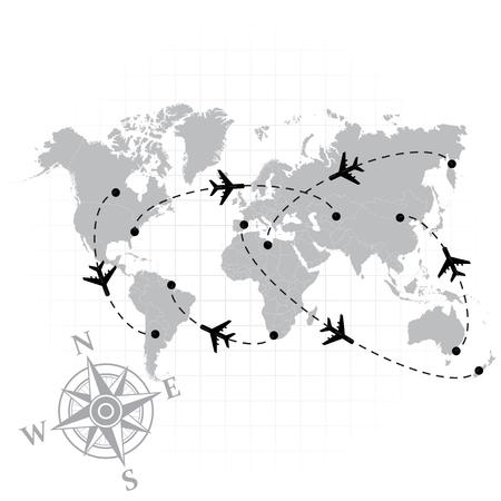 america del sur: silueta gris del mapa del mundo con algunos de los aviones