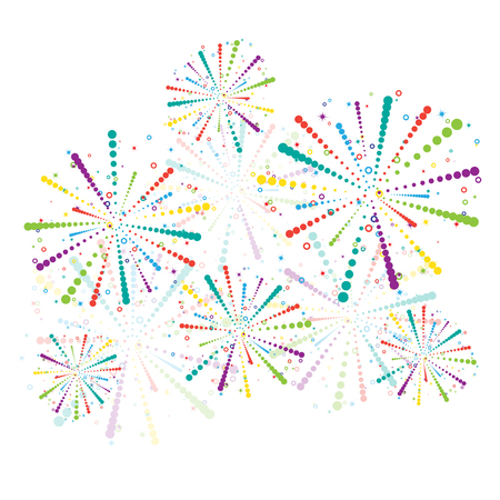 Fireworks with different transparency isolated.