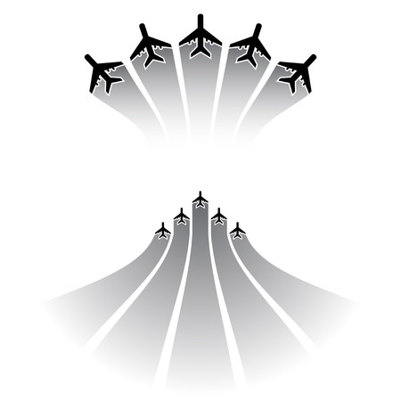 Black airplane silhouettes with strokes different forms Illustration