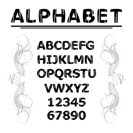 letras negras: Las letras negras y números con líneas blancas Vectores