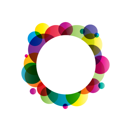 Many circles different colors with white circle in the middle Illustration