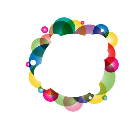 White circle frame with many colors circles
