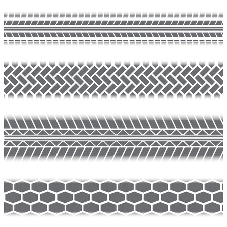 nascar: Four gray tire track silhouettes isolated on white background