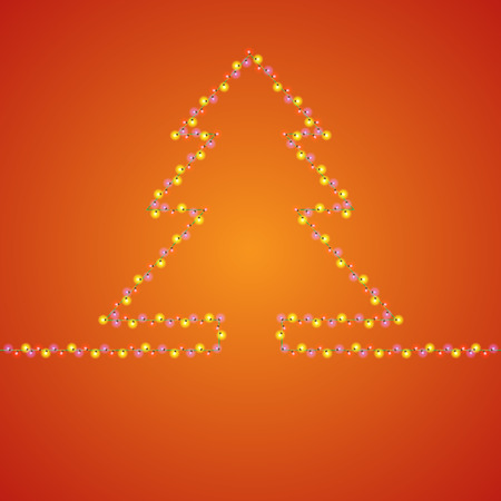 bright lights: Bright holiday background with many lights in fir-tree shape