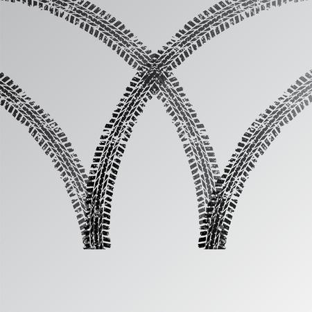 Car tire track silhouette Illustration