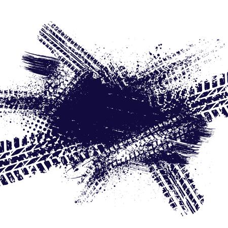 Ink splash with tire tracks Illustration