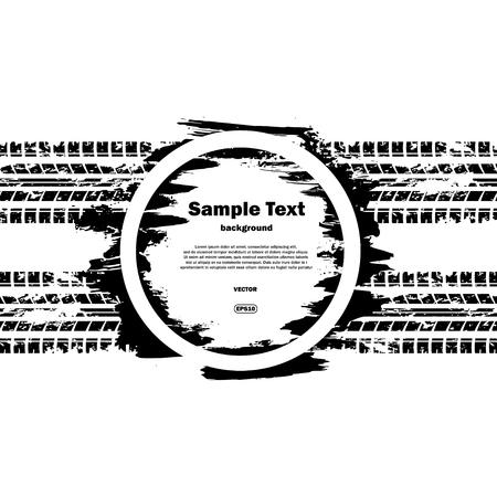 Grunge circle with text and tire track Vektoros illusztráció