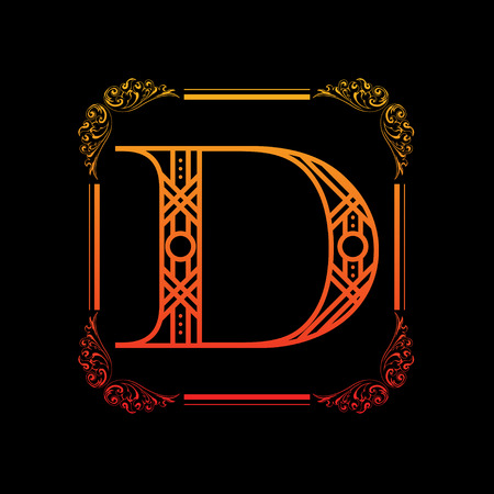 Letter D with ornament Ilustracja