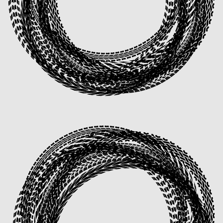 White background with black circle tire tracks
