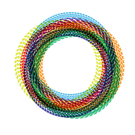 Circle tire tracks color Illustration